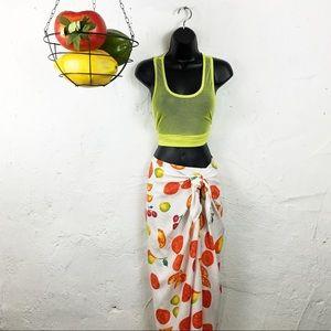 Dresses & Skirts - Vintage Chava Fruit  Wrap Skirt
